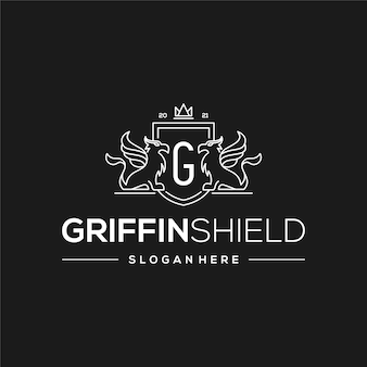 Design do logotipo monoline gryphon shield