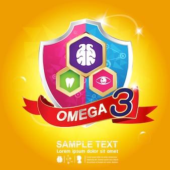 Design do logotipo omega 3 nutrition
