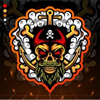 Design do logotipo pirates esport com cabeça de crânio