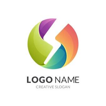 Design do logotipo thunder and letter s, logotipo 3d moderno