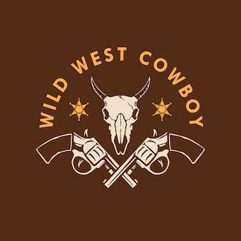 Design do logotipo wild west cowboy
