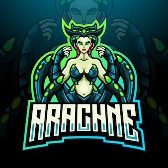 Design do mascote do logotipo arachne esport
