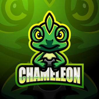 Design do mascote do logotipo chameleon esport
