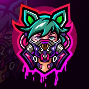 Design do mascote do logotipo cyberpunk esport