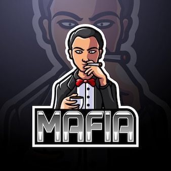Design do mascote do logotipo da máfia esport