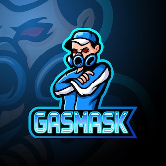 Design do mascote do logotipo da máscara de gás esport