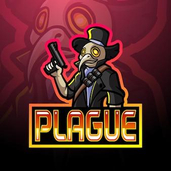 Design do mascote do logotipo da plague esport