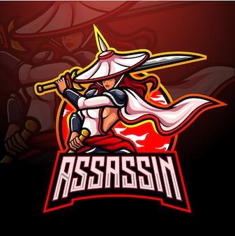 Design do mascote do logotipo do assassin esport