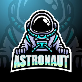 Design do mascote do logotipo do astronauta esport