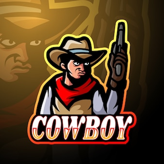 Design do mascote do logotipo do cowboy esport
