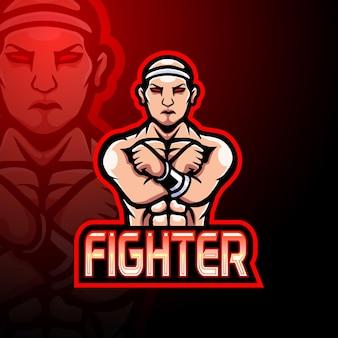 Design do mascote do logotipo do fighter e sport