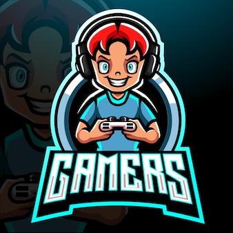 Design do mascote do logotipo do gamer esport