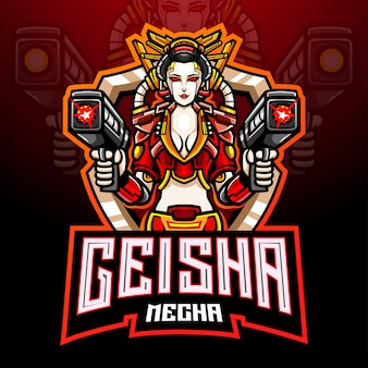Design do mascote do logotipo do geisha mecha esport