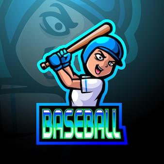 Design do mascote do logotipo do jogador de beisebol