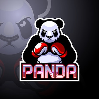 Design do mascote do logotipo do panda boxing esport