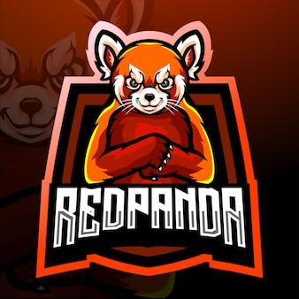 Design do mascote do logotipo do panda vermelho esport