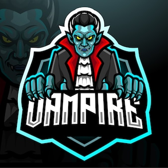Design do mascote do logotipo do vampiro esport