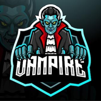 Design do mascote do logotipo do vampiro esport