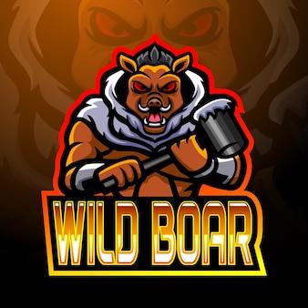 Design do mascote do logotipo do wild javali esport