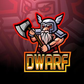 Design do mascote do logotipo dwarf esport
