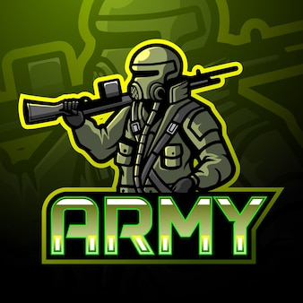 Design do mascote do logotipo esport do exército