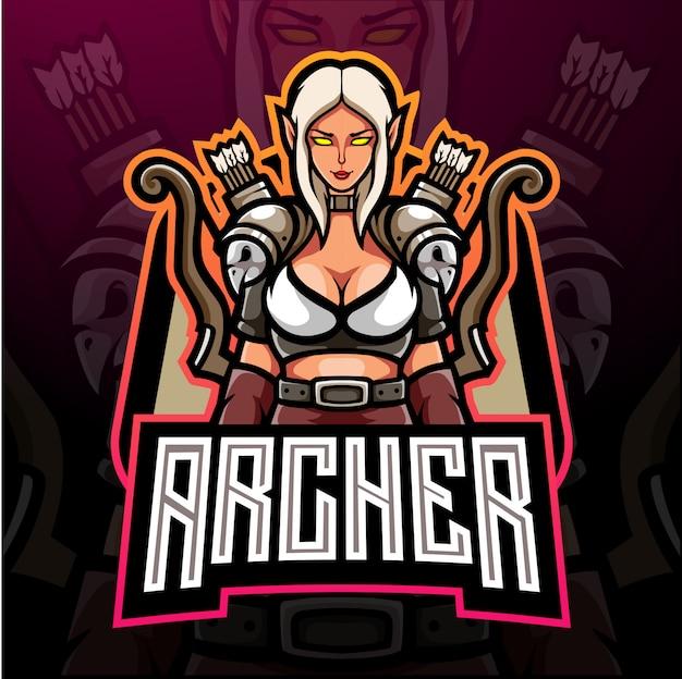 Design do mascote do logotipo esport do logotipo archer esport