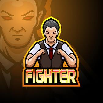 Design do mascote do logotipo fighter esport