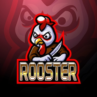 Design do mascote do logotipo rooster esport