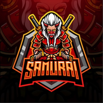 Design do mascote do logotipo samurai esport