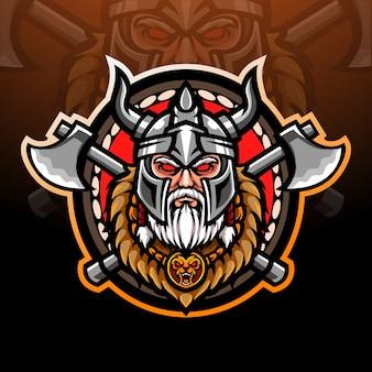 Design do mascote do logotipo viking esport