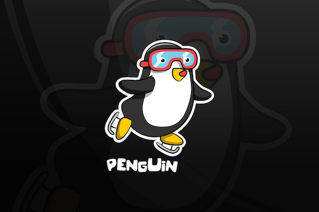 Design do mascote do penguin esport. patinagem no gelo