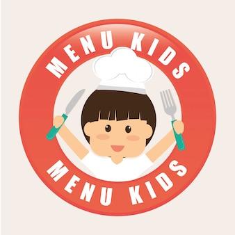 Design do menu para crianças.