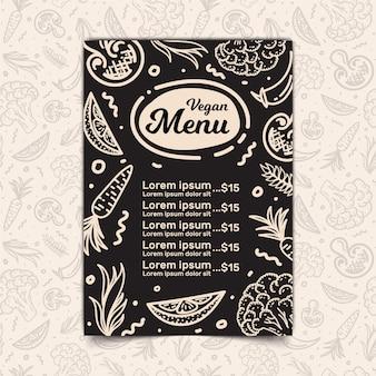 Design do menu vegan e padrão sem emenda
