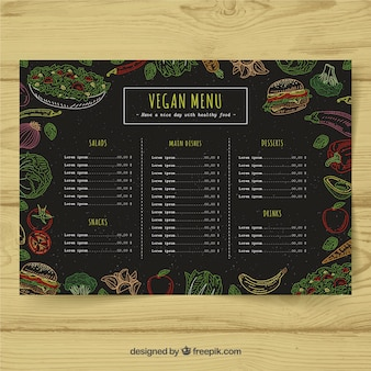 Design do menu vegano