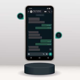 Design do modelo da interface do whatsapp em modo escuro