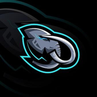 Design do modelo da mascote do logotipo do head mammoth esport