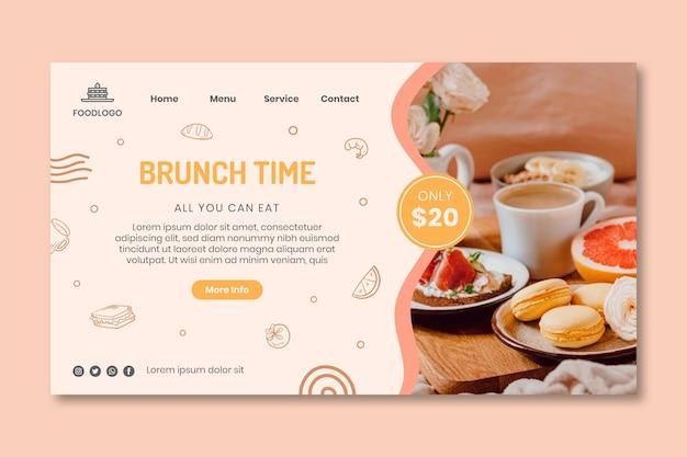 Design do modelo da página de destino do brunch