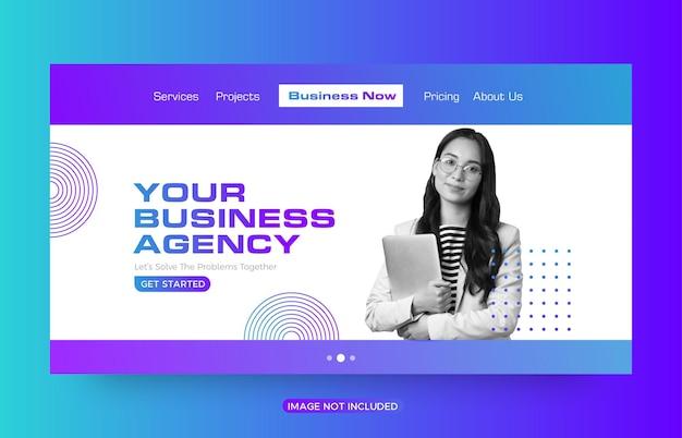 Design do modelo da página de destino do site da agência comercial