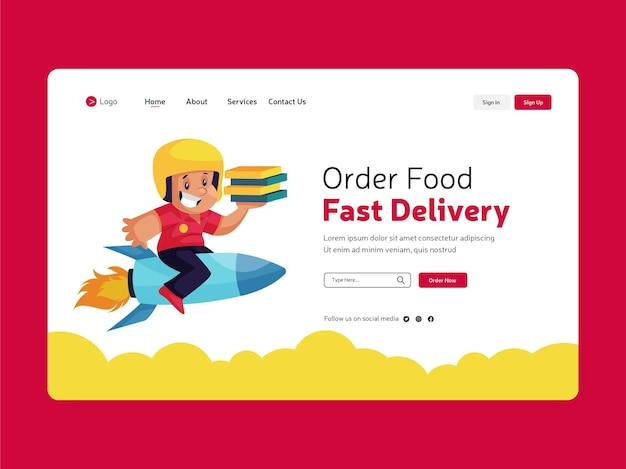 Design do modelo da página de destino para entrega rápida de comida
