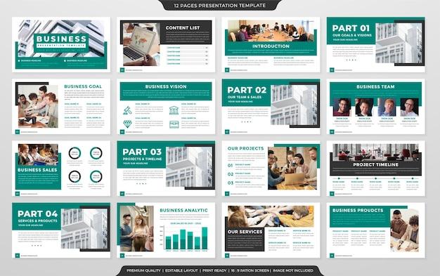 Design do modelo de apresentação do perfil da empresa com estilo minimalista e layout limpo