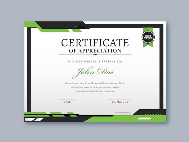 Design do modelo de certificado de apreciação nas cores branca e verde