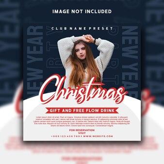 Design do modelo do banner do instagram para postagem nas redes sociais de natal