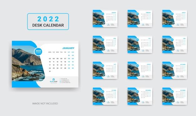 Design do modelo do calendário de mesa 2022