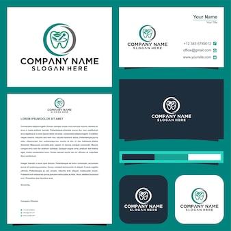 Design do modelo do logotipo da nature dental e cartão de visita