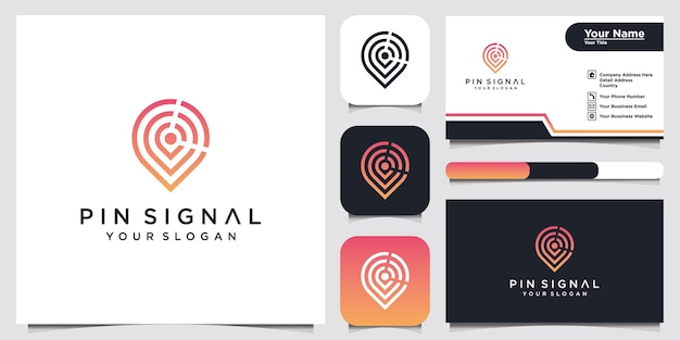 Design do modelo do logotipo do ícone do pino e cartão de visita