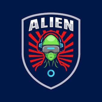 Design do modelo do logotipo do mascote alienígena