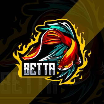 Design do modelo do logotipo do mascote betta fish