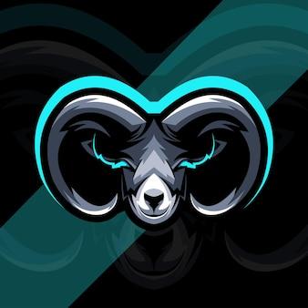 Design do modelo do logotipo do mascote da cabra cabeça