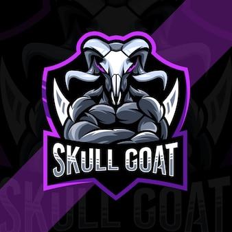 Design do modelo do logotipo do mascote do crânio da cabra e esport