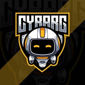 Design do modelo do logotipo do mascote do cyborg Vetor Premium